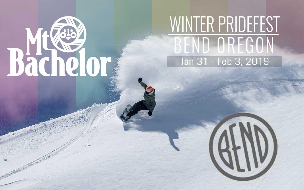 Winter pridefest snowboarder